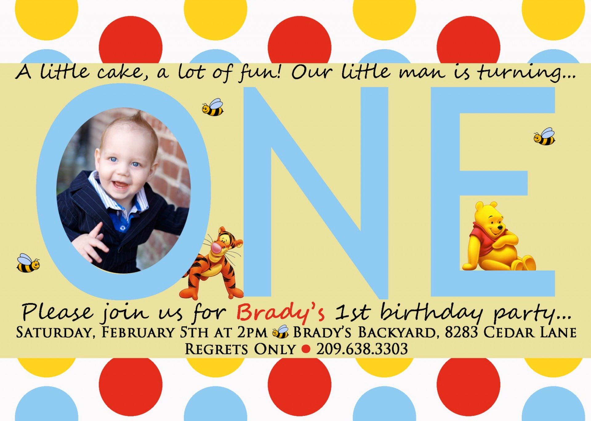 Winnie The Pooh 1st Birthday Invitation Templates