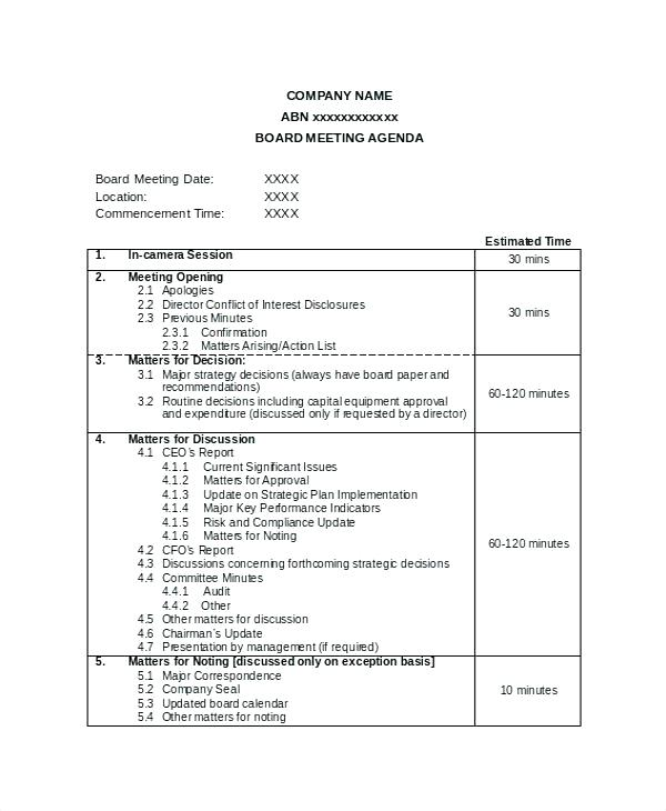 Word Document Board Meeting Agenda Template Word