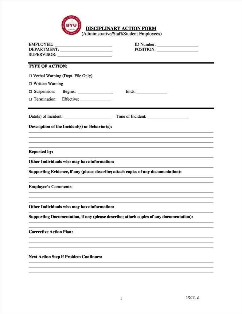 Word Document Disciplinary Form Template