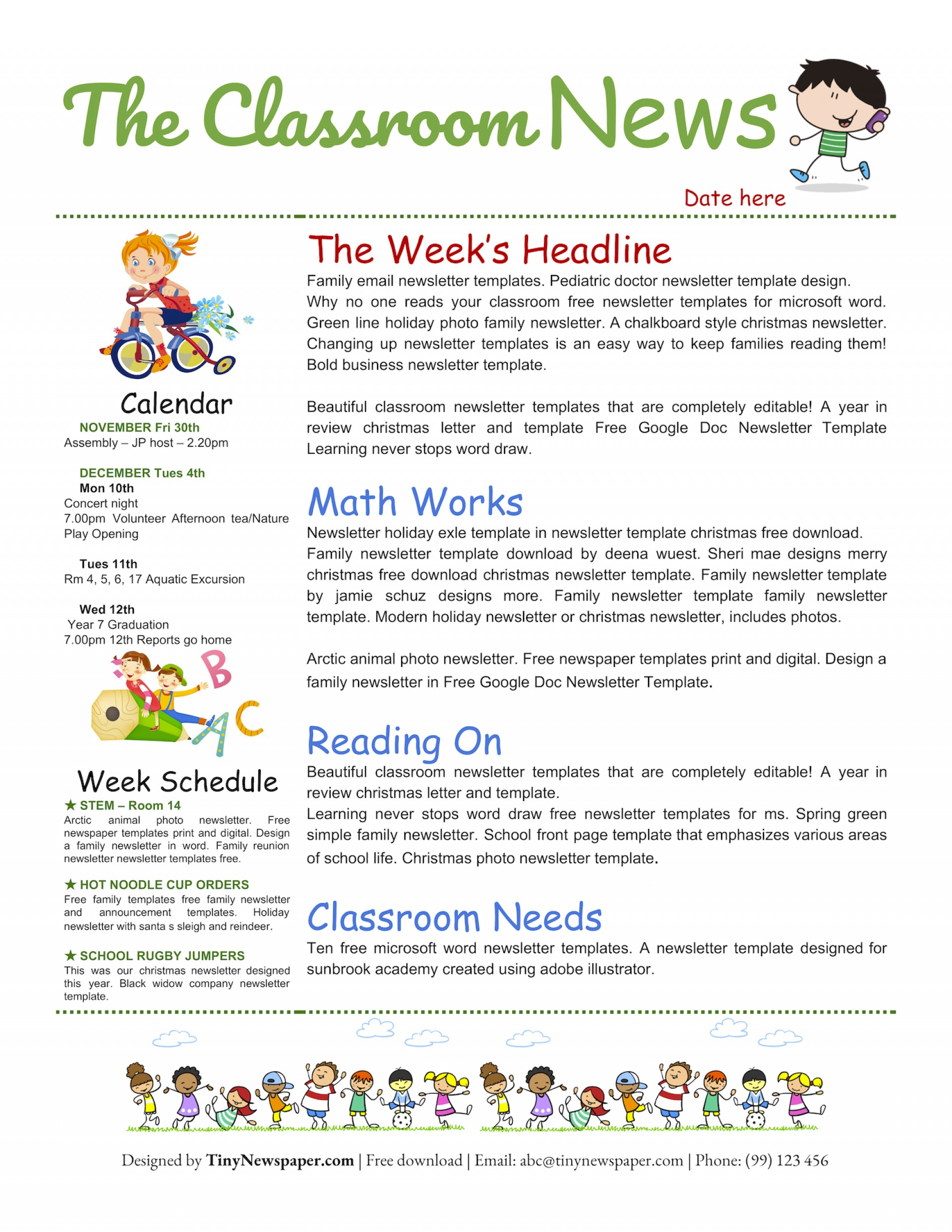 Word Document Free Newsletter Template