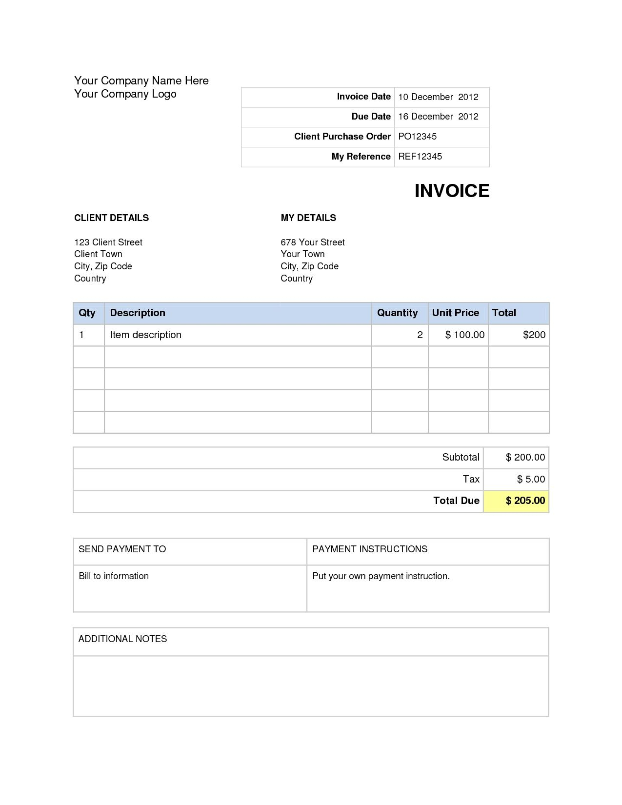 Word Document Invoice Template Blank Invoice Template Word Doc House Invoice Templates Printable Free Word Doc