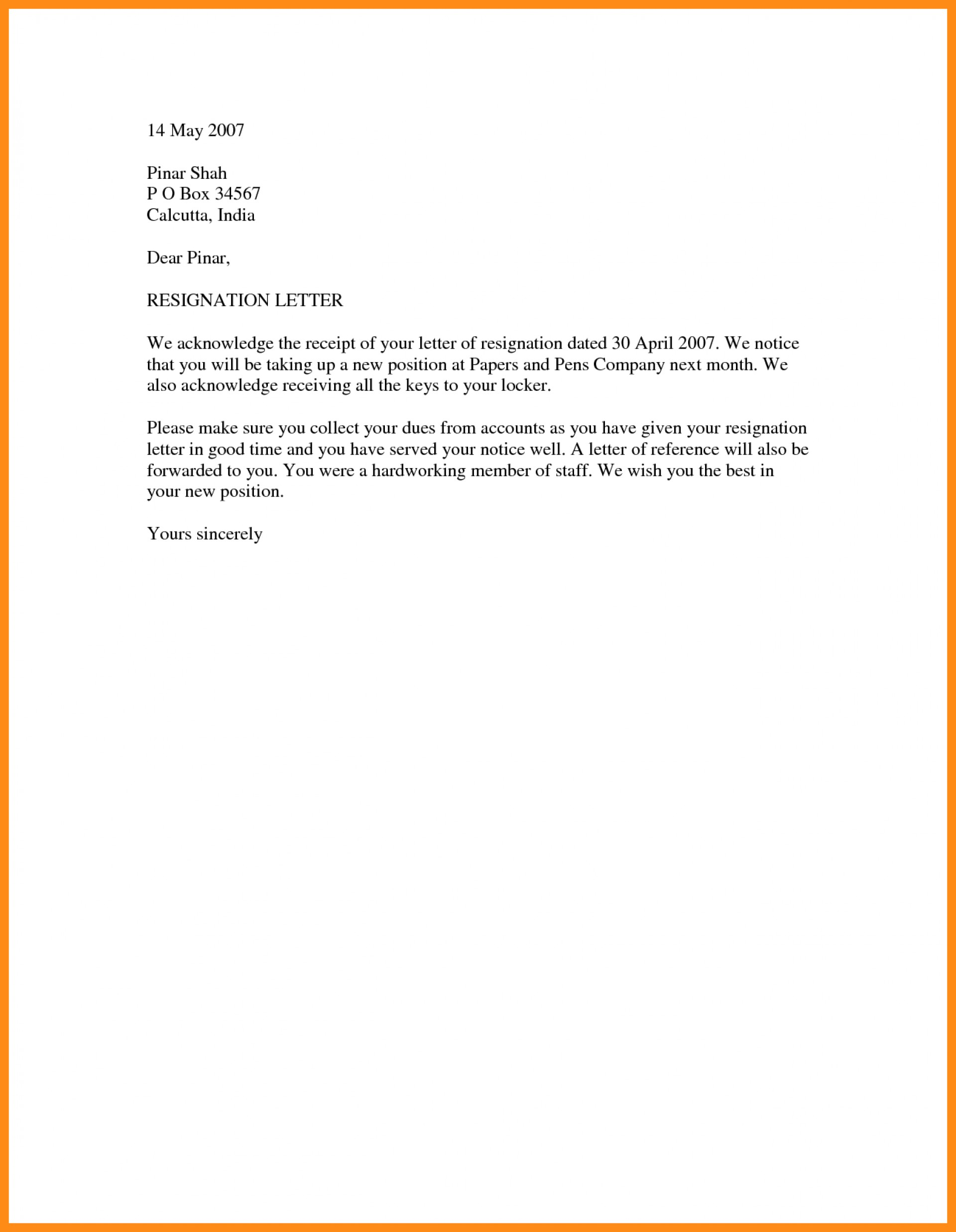 Word Document Resignation Letter Template Word