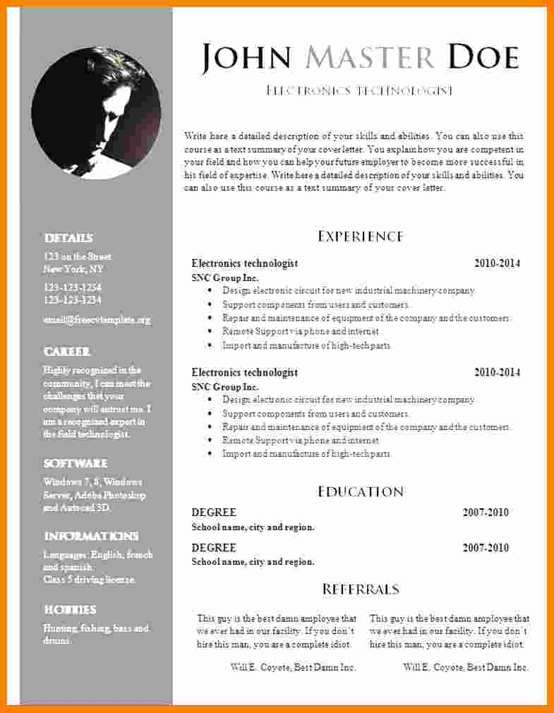 Word Document Resume Template Free Doc