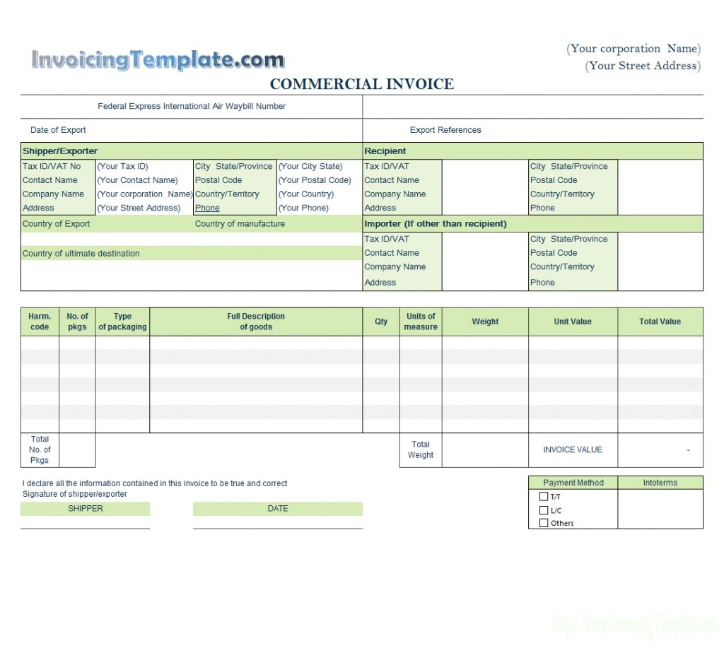 Word Editable Excel Invoice Template