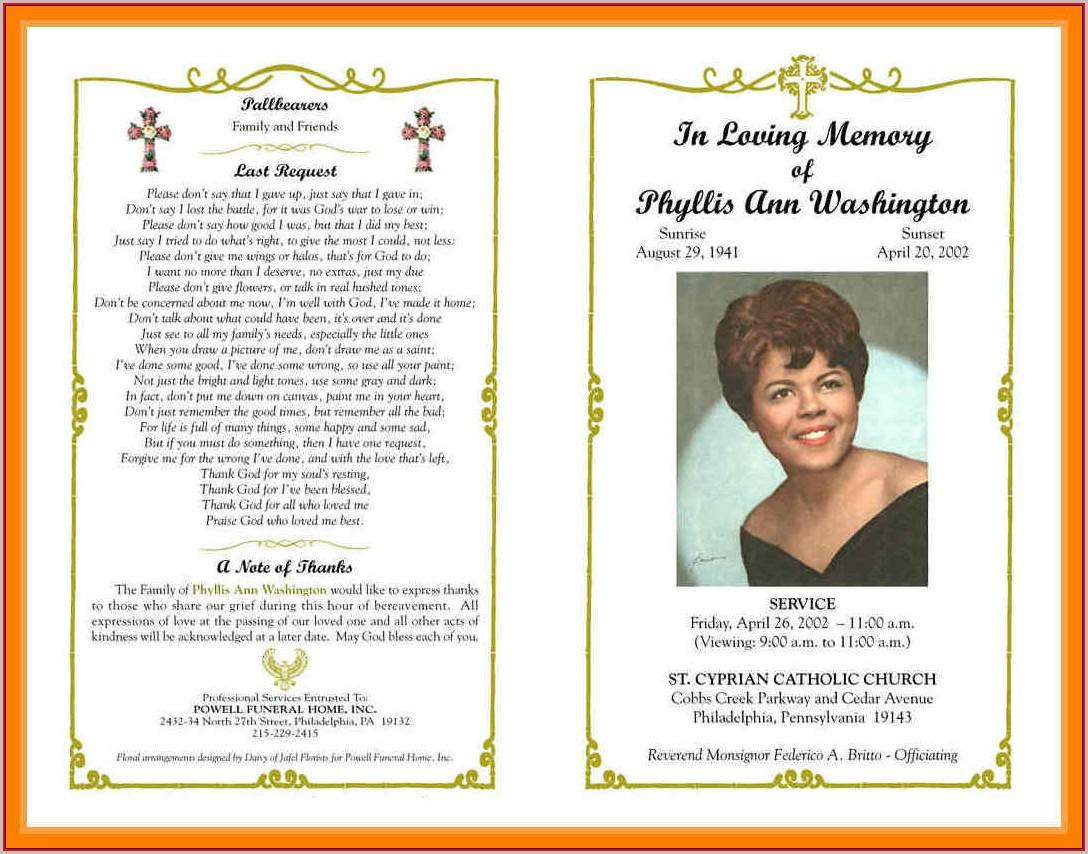 Word Free Blank Funeral Program Templates