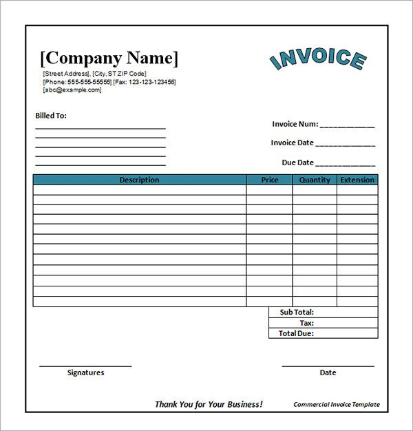 Word Invoice Templates Free Download