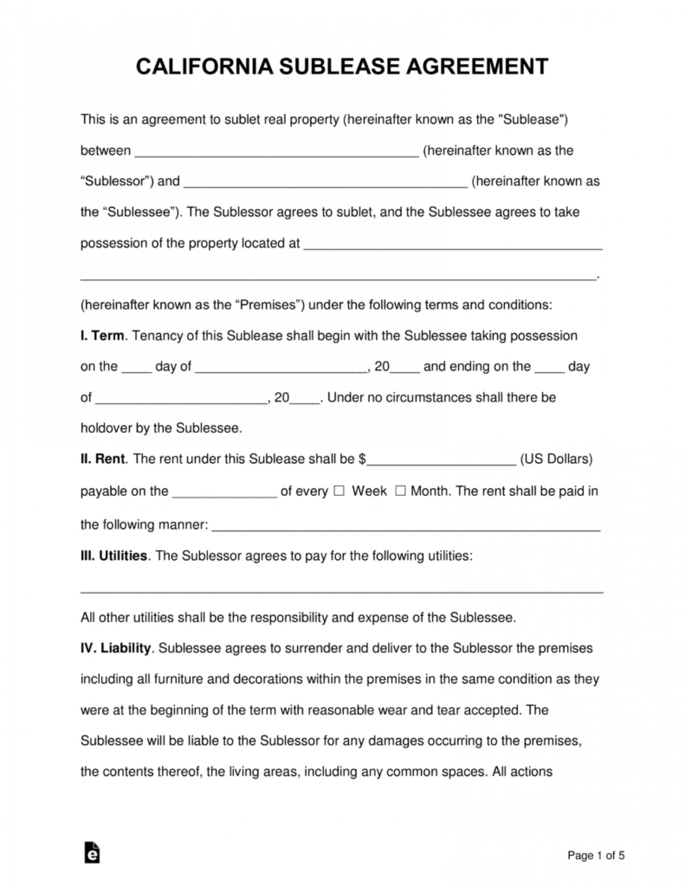 Word Simple Sublease Agreement Template