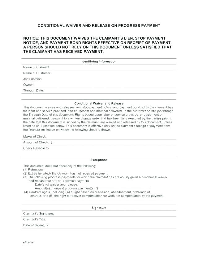 Word Unconditional Lien Waiver Template