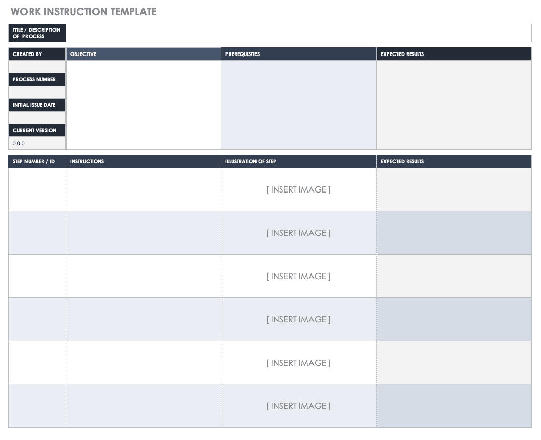 Work Instruction Template For Manufacturing