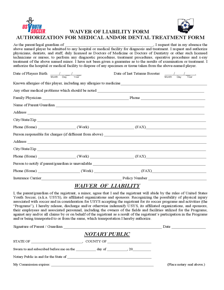 Work Medical Waiver Form Template