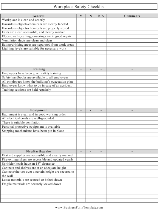 Workplace Safety Safety Checklist Template