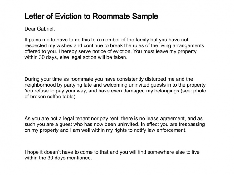 30 Day Eviction Notice Printable Eviction Letter Template