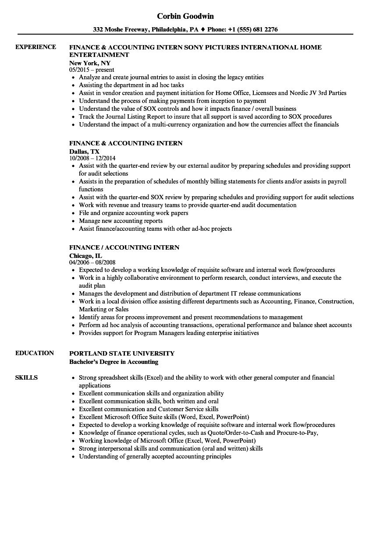 Accounting Internship Resume Templates