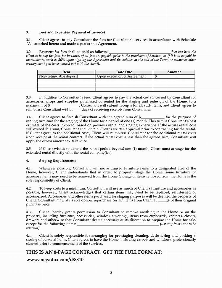 Agreement Home Staging Contract Template