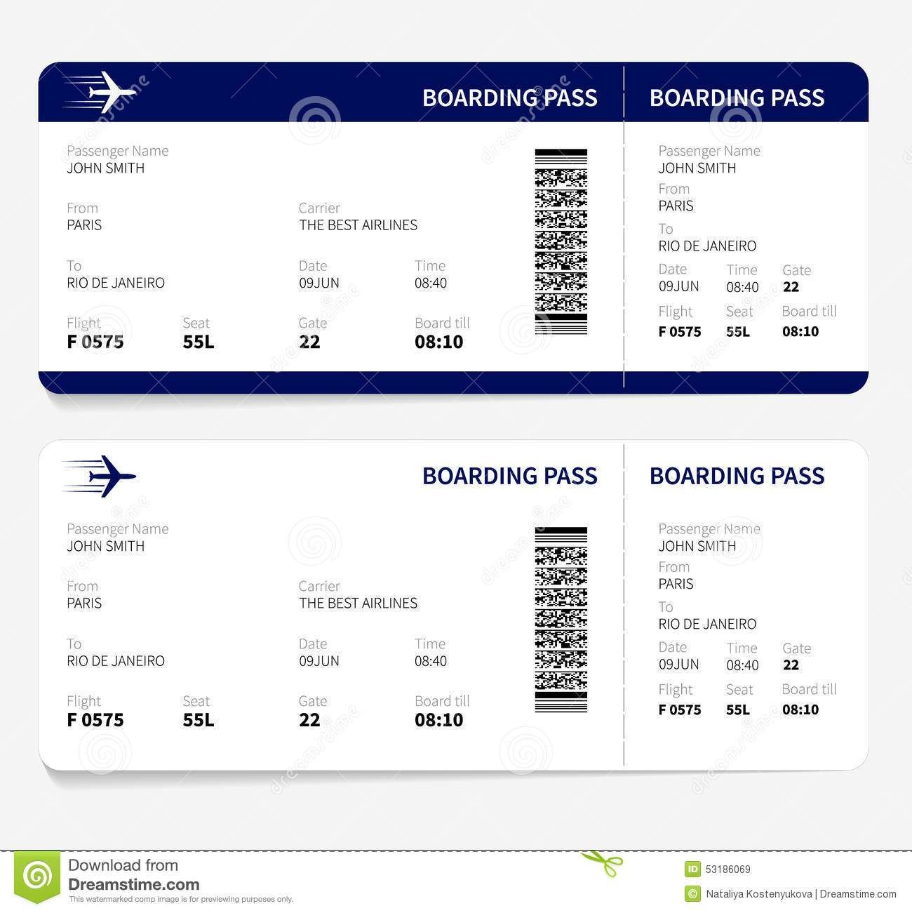 Airline Ticket Sample Template