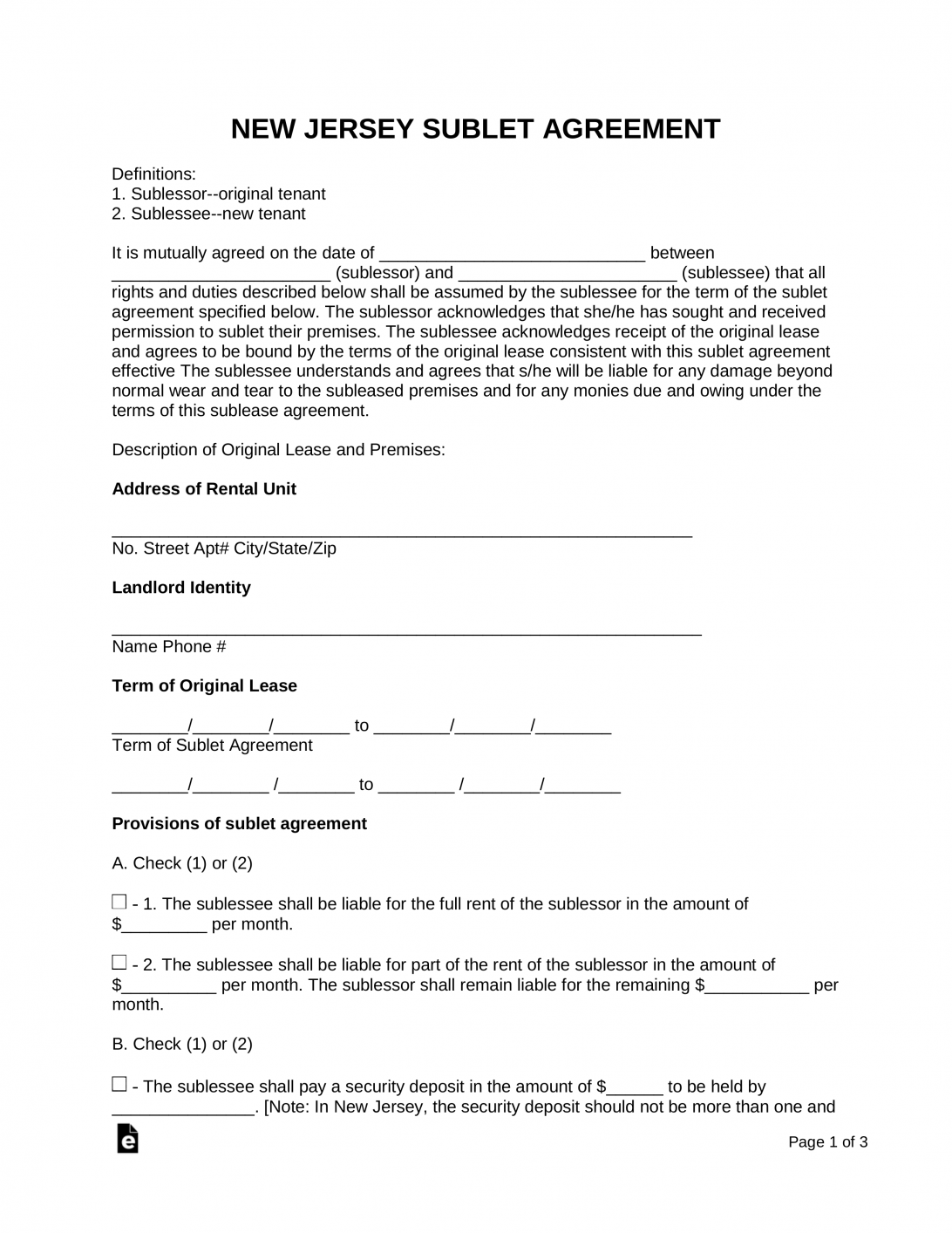 Apartment Sublease Agreement Template Free