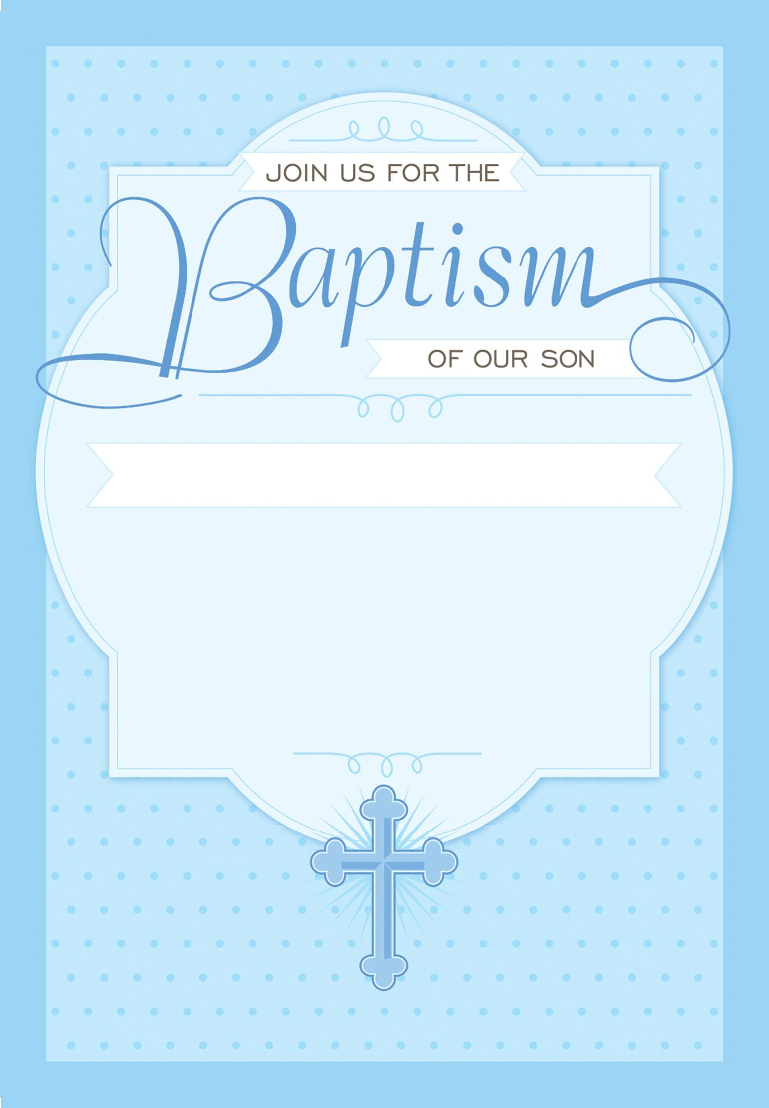 Baby Boy Blank Christening Invitation Template