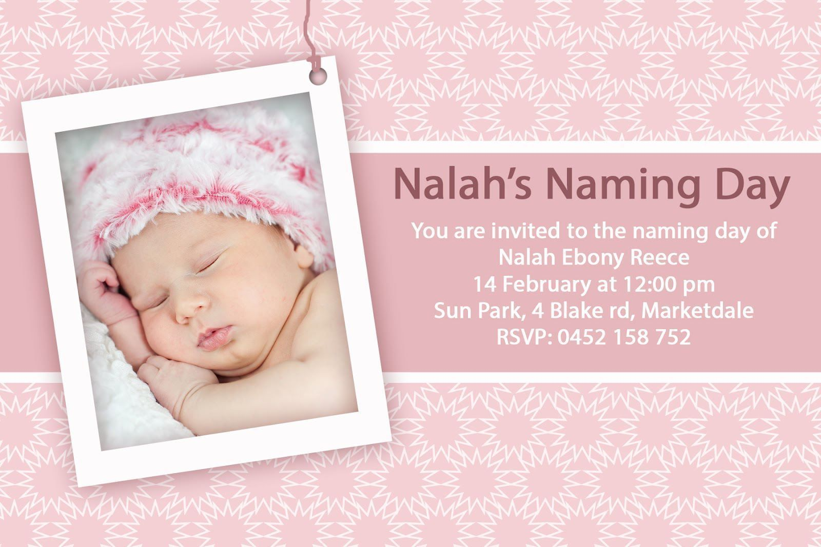 Baby Girl Blank Christening Invitation Template