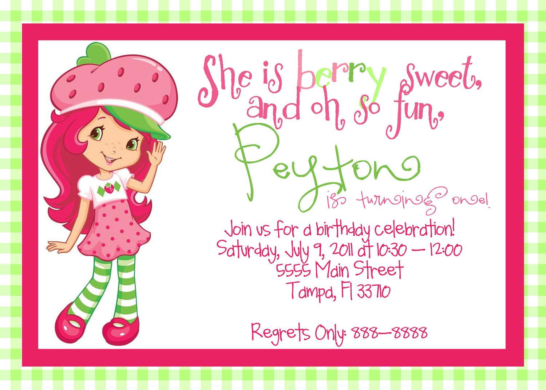 Blank Strawberry Shortcake Invitation Template