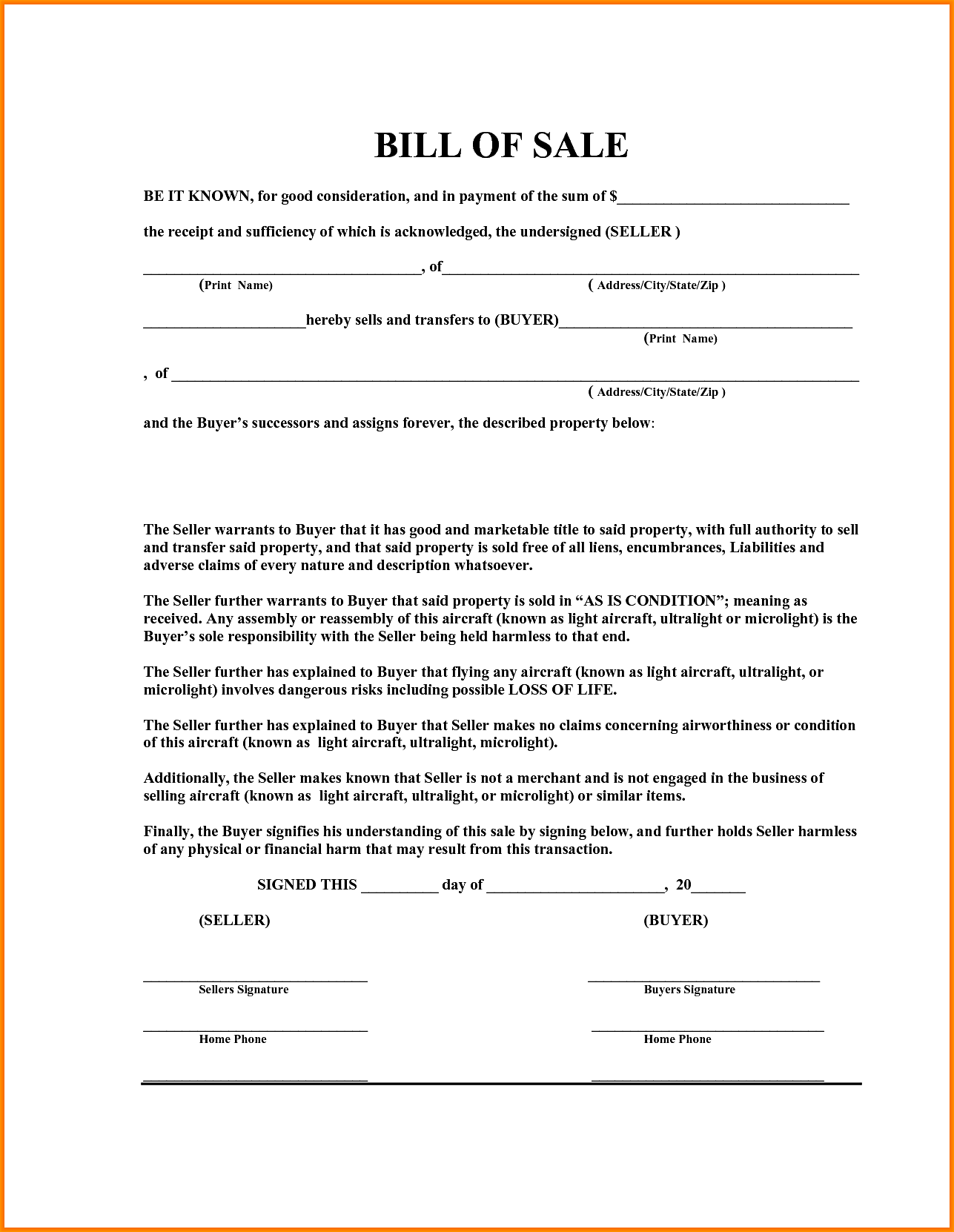 Boat Bill Of Sale Template Free Pdf