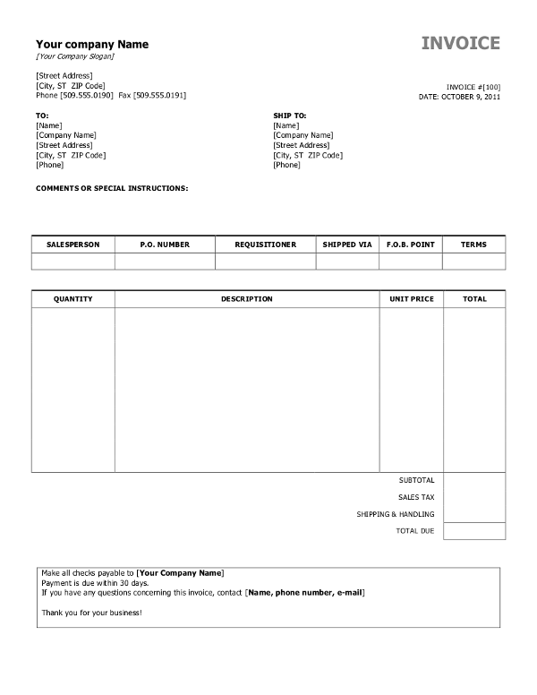Business Invoice Templates Free