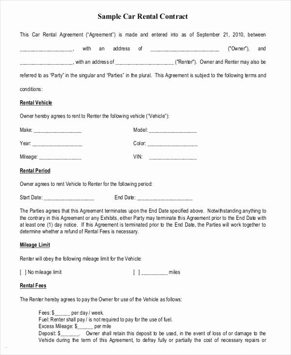 Car Rental Contract Template Free