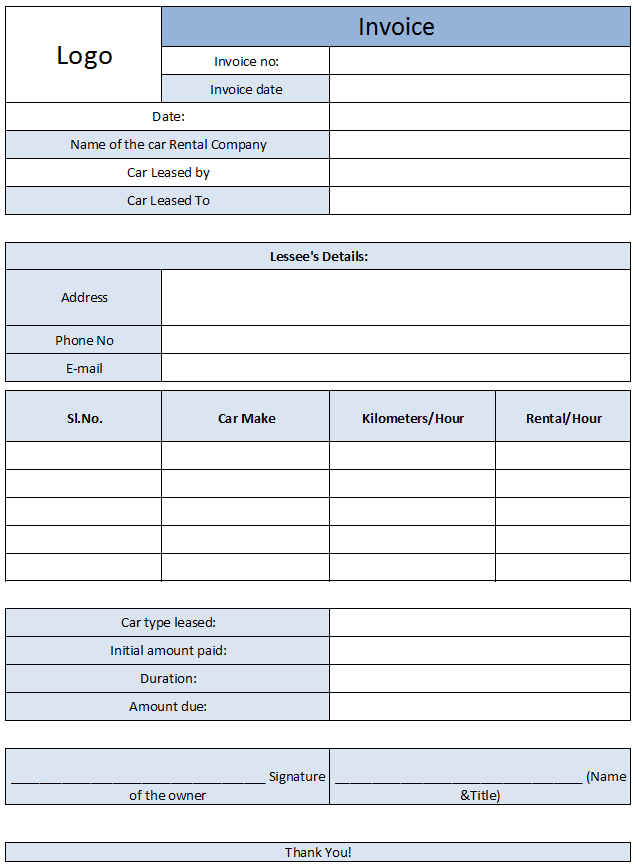 Car Rental Invoice Template Free