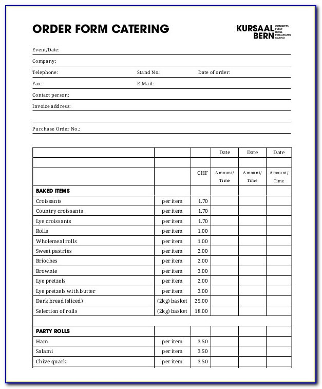 Catering Form Template