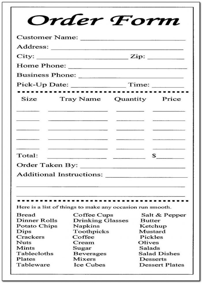 Catering Request Form Template