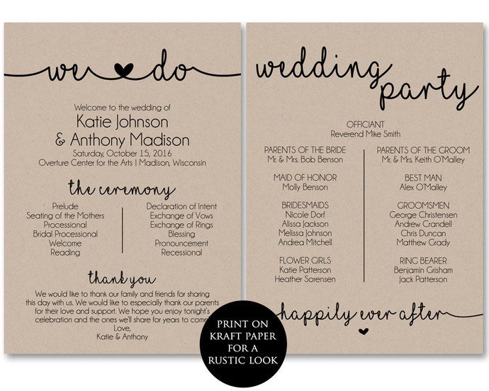 Ceremony Programs Wedding Template