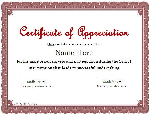 Certificates Of Recognition Templates