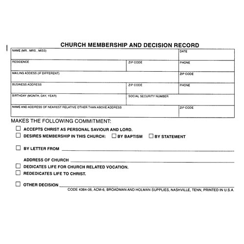 Church Membership Forms Template