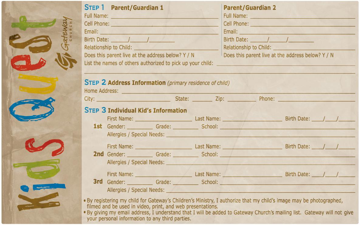 Church Nursery Registration Form Template