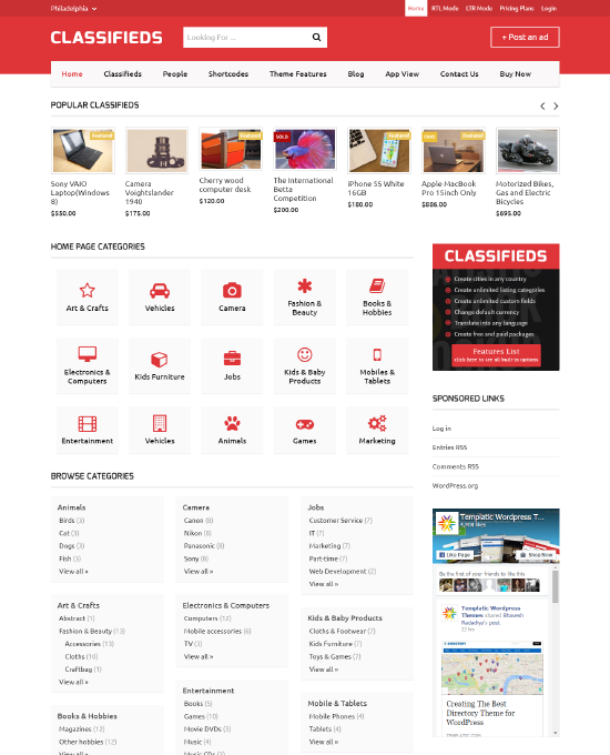 Classified Ads Template Wordpress