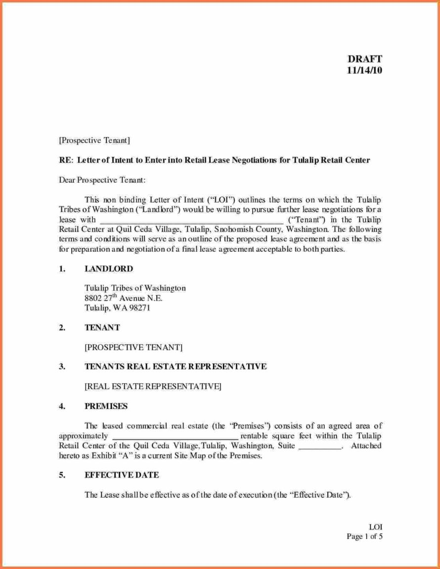 Commercial Lease Letter Of Intent Template