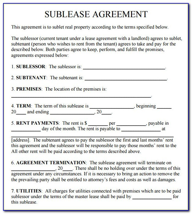 Commercial Sublease Agreement Template Uk