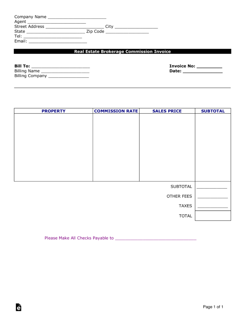 Commission Invoice Template Free