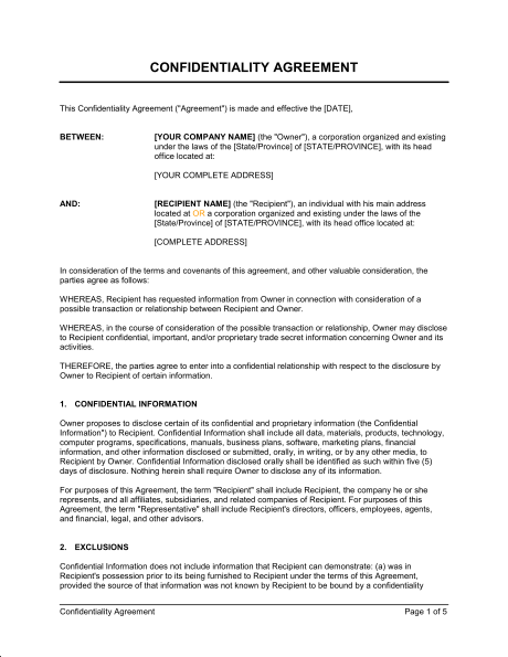 Confidentiality Agreement Form Template