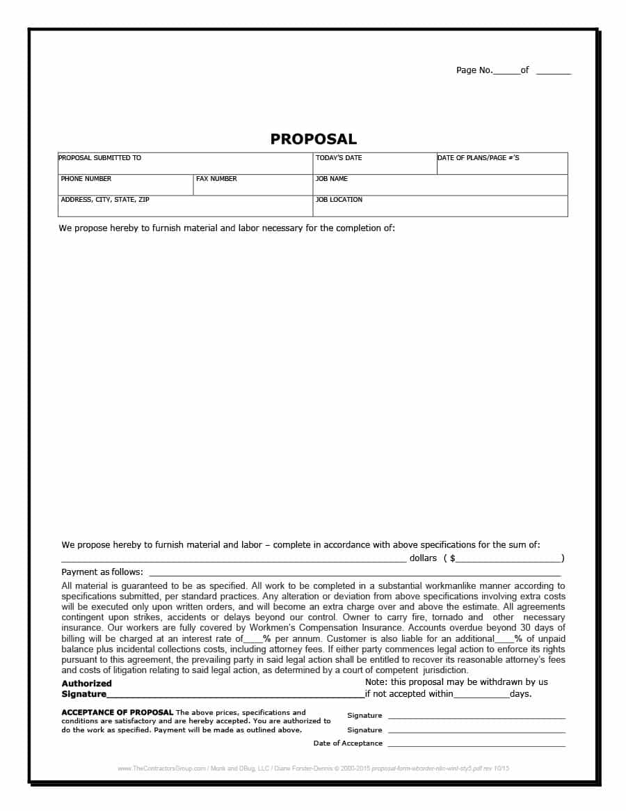 Construction Free Project Proposal Template