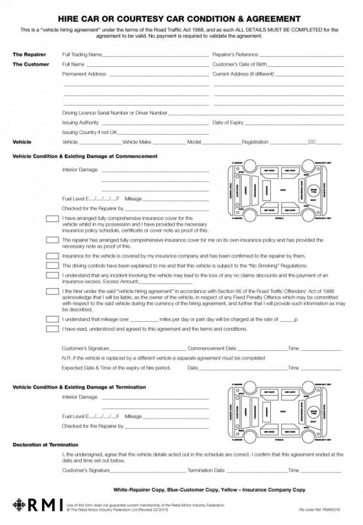 Contract Car Rental Agreement Template