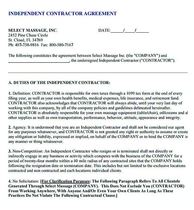 Contractor Subcontractor Agreement Template Free
