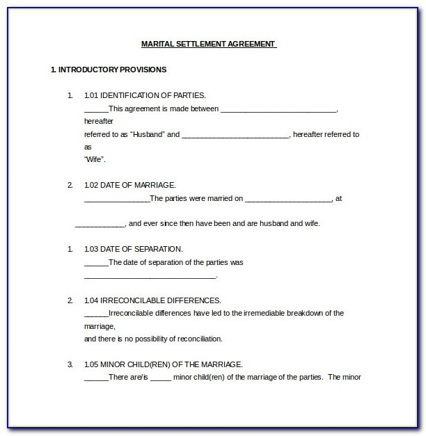 Marriage Settlement Agreement Template California Divorce With Regard To Marital Settlement Agreement Template