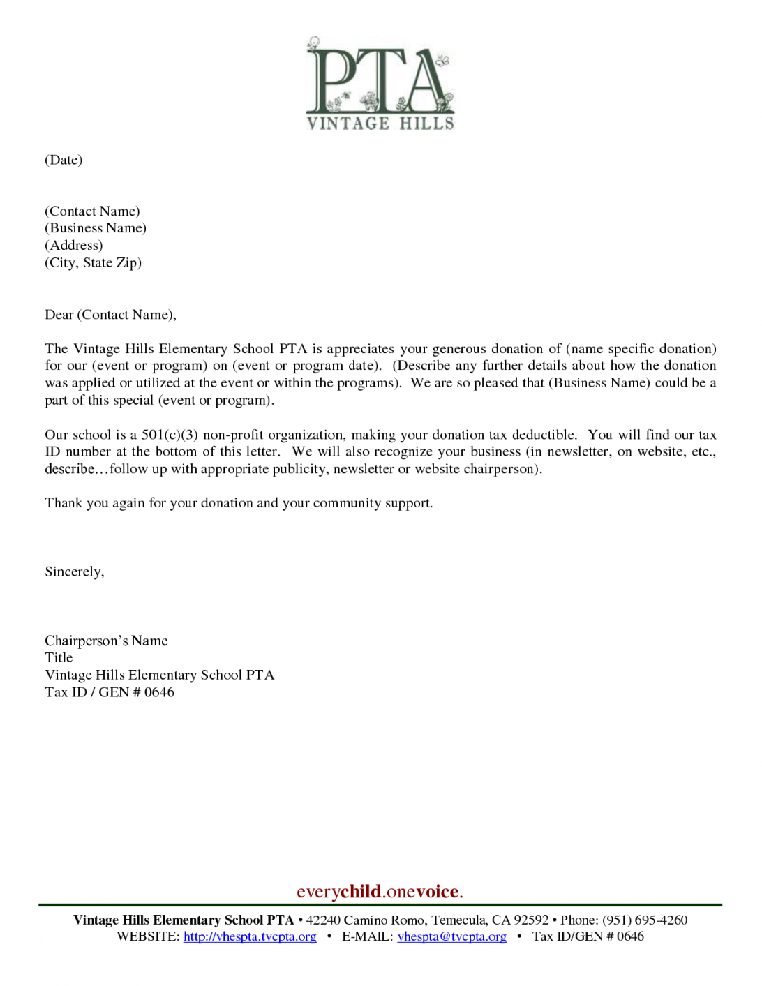 Donation Non Profit Thank You Letter Template