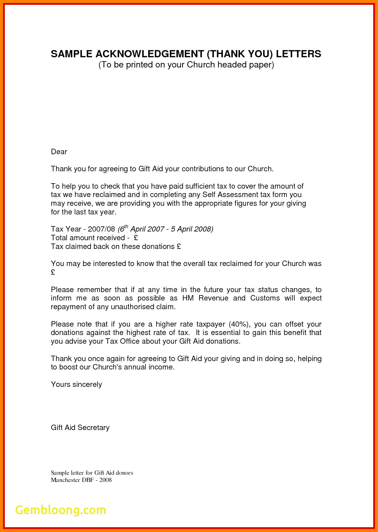 Thank You Letter For Donation To Nonprofit Acknowledgement Donation Letter Template Collection
