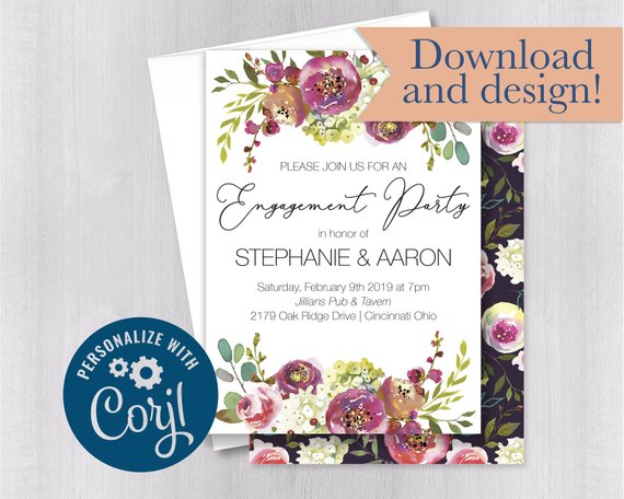 Downloadable Engagement Party Invitation Template