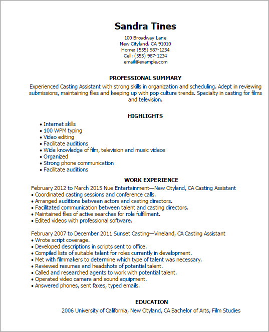 Draft Resume Template