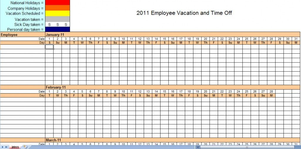 Employee Monthly Schedule Calendar Template