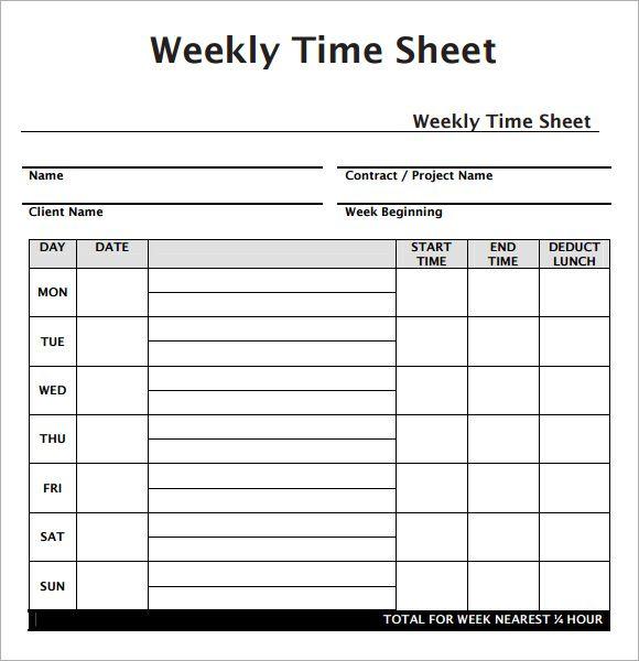Employee Weekly Timesheet Template Free