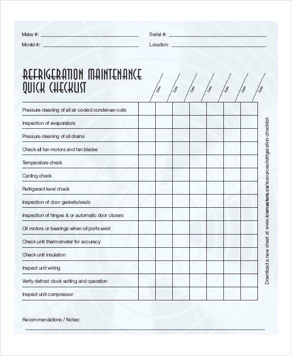 Equipment Maintenance Checklist Template Free