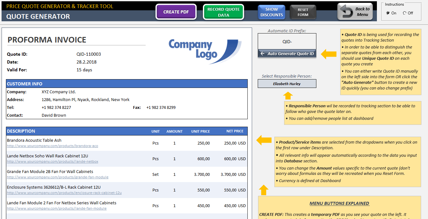 Excel Invoice Quote Template